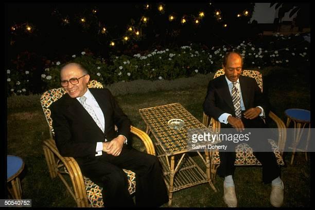 Egyptian President Anwar Sadat and Israeli Prime Minister Menachem Begin at Maamoura Palace