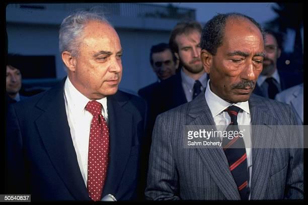 Egyptian President Anwar Sadat and US Ambassador Robert Strauss at press conference