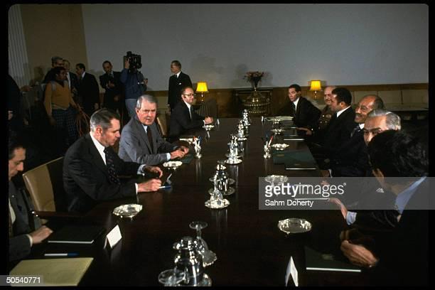 Egyptian President Anwar Sadat and US Secretary of State Cyrus Vance at ArabIsraeli peace negotiations