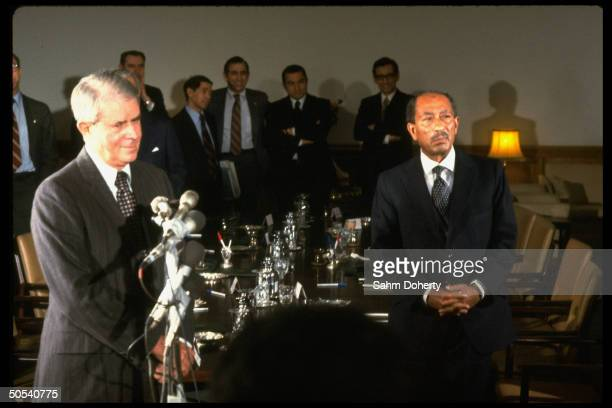 Egyptian President Anwar Sadat and US Secretary of State Cyrus Vance at ArabIsraeli peace negotiations
