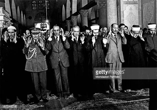 Egyptian President Anwar Sadat attending celebrations for the Festival of Sacrifice in the alAqsa Mosque Jerusalem November 1977