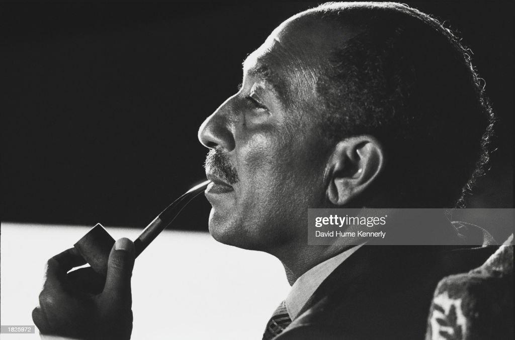 Anwar Sadat At Sinai II Negotiations In Egypt : News Photo