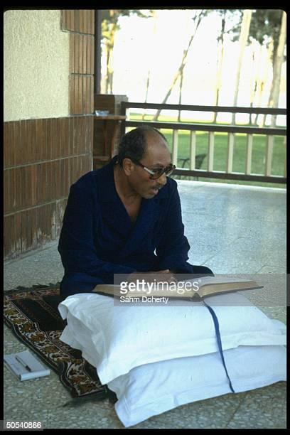 Egyptian President Anwar Sadat reading the Koran while praying on back porch of his house