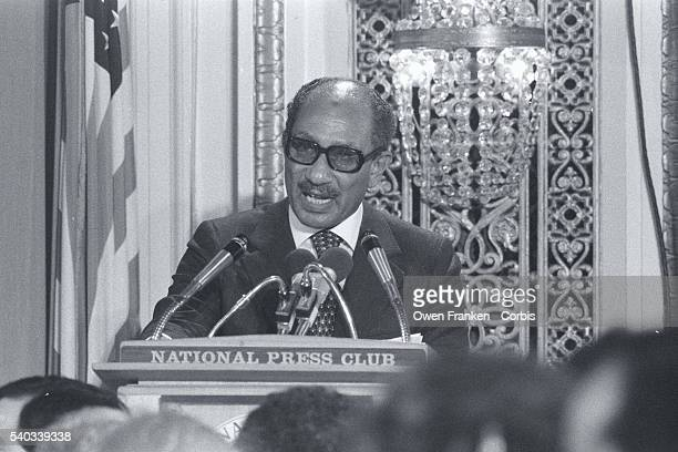 Egyptian President Anwar Sadat speaks with passion at the National Press Club in Washington DC