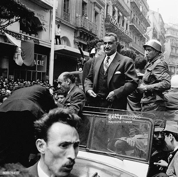 Egyptian President Gamal Abdel Nasser And Colonel Houari Boumédiène At Foreground in Algiers Algeria on May 5 1963