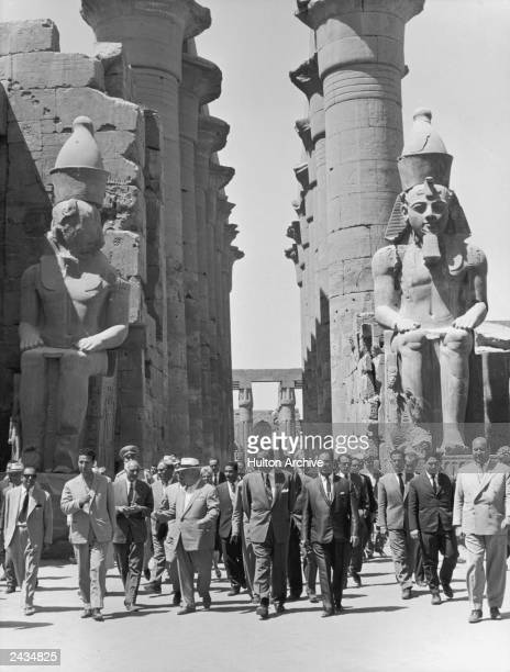 Egyptian President Gamal Abdul Nasser takes his guest Soviet premier Nikita S Khrushchev on a tour of the ancient Temple of Luxor following a visit...