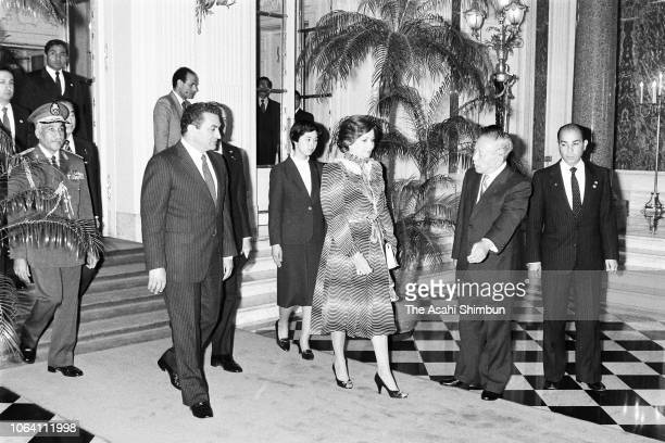 Egyptian President Hosni Mubarak and his wife Suzanne are seen prior to their welcome ceremony at the Akasaka State Guest House on April 6, 1983 in...