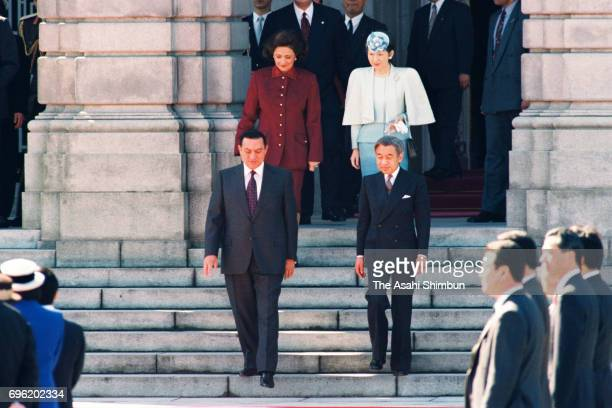 Egyptian President Hosni Mubarak and his wife Suzanne attend the welcome ceremony with Emperor Akihito and Empress Michiko at the Akasaka States...