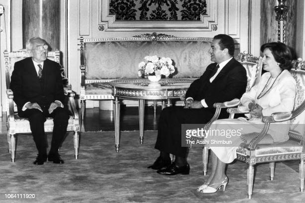 Egyptian President Hosni Mubarak and his wife Suzanne talk with Emperor Hirohito at the Akasaka State Guest House on April 8, 1983 in Tokyo, Japan.