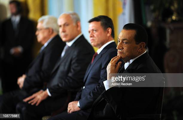 Egyptian President Hosni Mubarak Jordanian King Abdullah II Israeli Prime Minister Benjamin Netanyahu and Palestinian President Mahmoud Abbas listens...