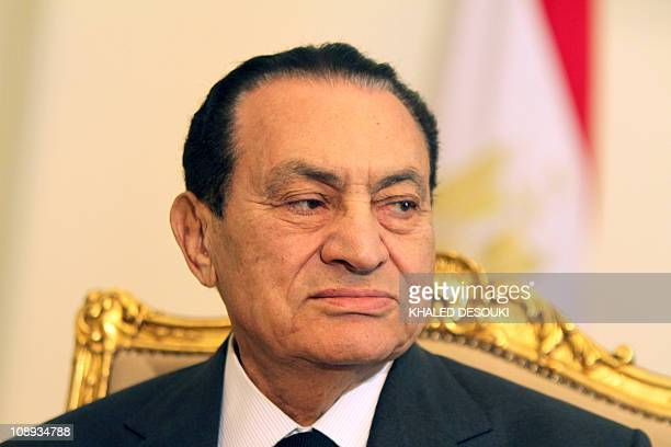 Egyptian President Hosni Mubarak meets with Emirates Foreign Minister Sheikh Abdullah bin Zayed alNahayan in Cairo on February 8 as protests in the...