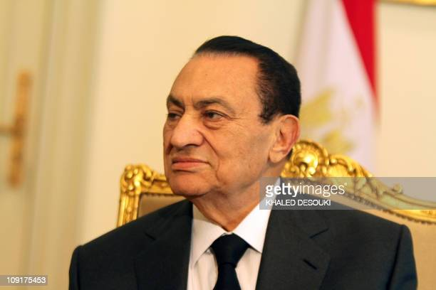 Egyptian President Hosni Mubarak meets with Emirates Foreign Minister Sheikh Abdullah bin Zayed al-Nahayan in Cairo on February 8 as protests in the...