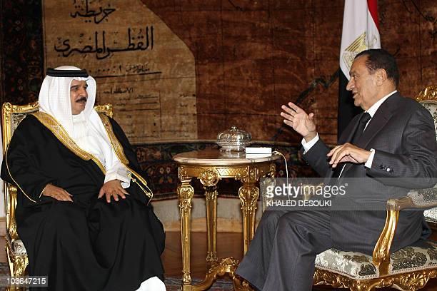Egyptian President Hosni Mubarak meets with King Hamad bin Issa alKhalifa of Bahrain in Cairo on August 26 2010 AFP PHOTO/KHALED DESOUKI