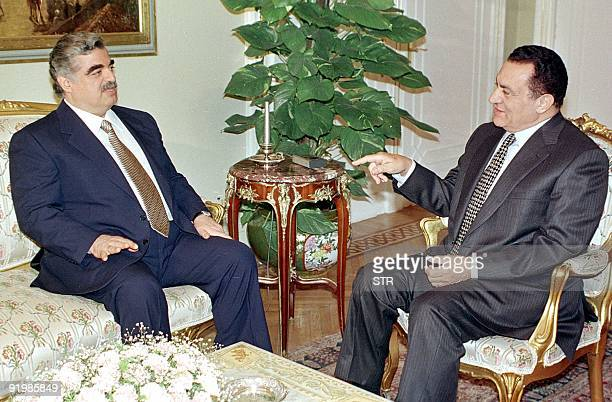 Egyptian President Hosni Mubarak meets with Lebanese Prime Minister Rafic Hariri in Cairo 21 April Hariri is on a two day visit to Egypt to for talks...
