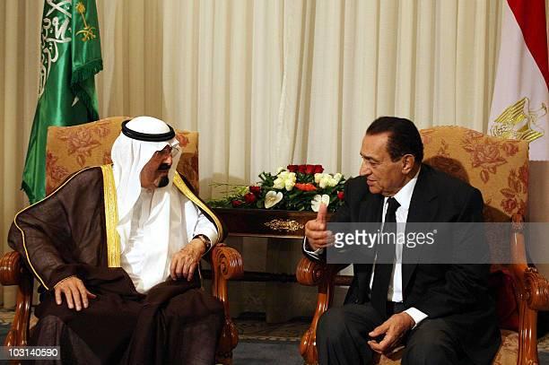 Egyptian President Hosni Mubarak meets with Saudi King Abdullah bin Abdul Aziz in the Red Sea resort town of Sharm ElSheikh on July 28 2010 at the...