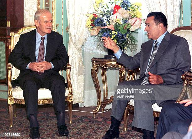 Egyptian President Hosni Mubarak meets with Syrian President Hafez alAssad in Alexandria 26 July for talks on the stalled Middle East peace process