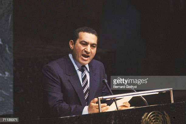 Egyptian president Hosni Mubarak speaks before the United Nations New York New York 1980s