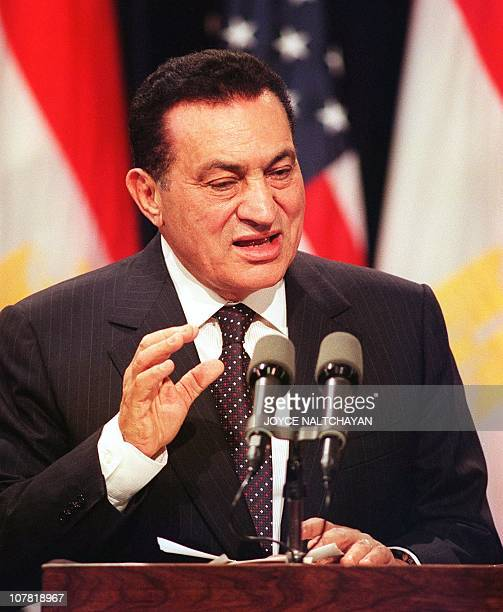 Egyptian President Hosni Mubarak speaks during a news conference 01 July 1999 at the Old Executive Office Building in Washington DC AFP PHOTO/Joyce...