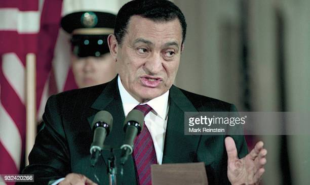 Egyptian President Hosni Mubarak speaks during a press conference in the White House's East Room Washington DC April 6 1993