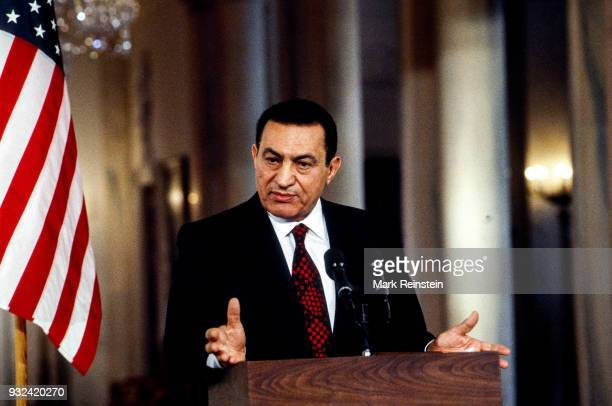 Egyptian President Hosni Mubarak speaks during a press conference in the White House's East Room Washington DC September 28 1995 He was speaking...