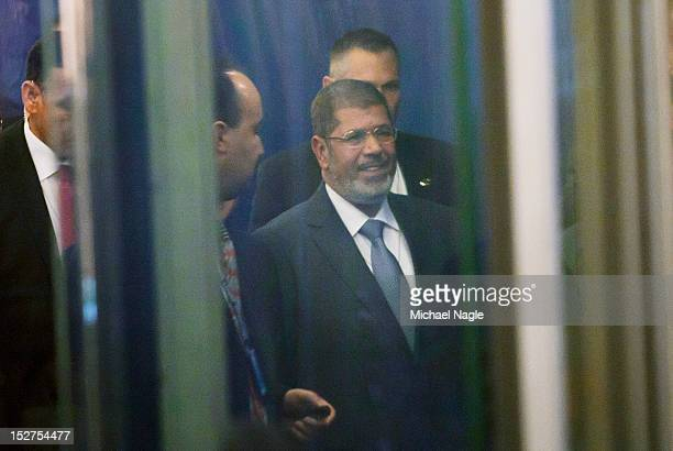 Egyptian President Mohamed Morsi arrives at the United Nations during the UN's General Assembly on September 25, 2012 in New York City. Over 120...