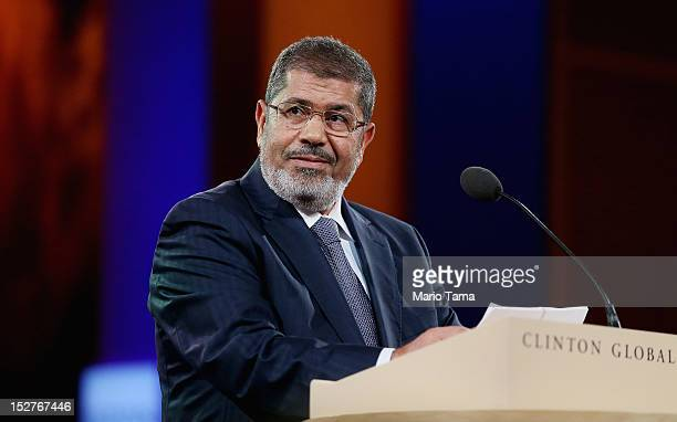 Egyptian President Mohamed Morsi speaks at the Clinton Global Initiative meeting on September 25 2012 in New York City Timed to coincide with the...