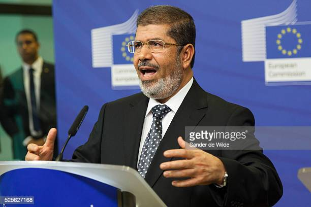 Egyptian President Mohamed Morsi speaks to the press prior to a meeting at the EU headquarters in Brussels on Thursday Sept 13 2012