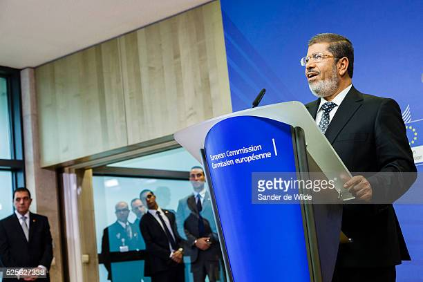Egyptian President Mohamed Morsi speaks to the press prior to a meeting at the EU headquarters in Brussels on Thursday, Sept. 13, 2012.