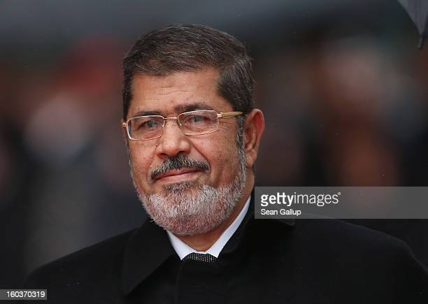Egyptian President Mohamed Mursi arrives at the Chancellery to meet with German Chancellor Angela Merkel on January 30, 2013 in Berlin, Germany....