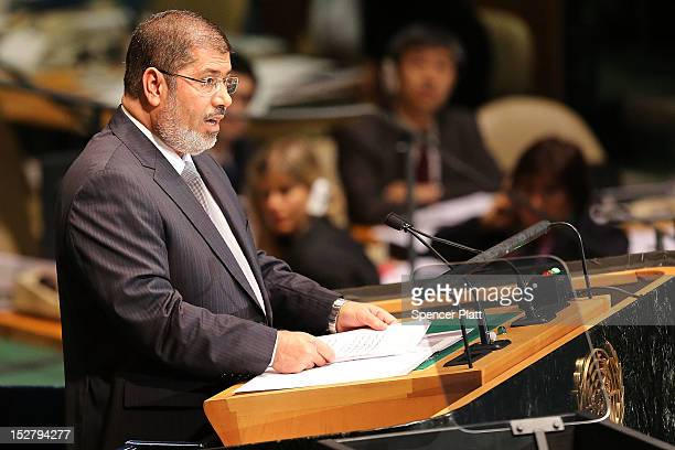 Egyptian President Mohammed Morsi addresses world leaders at the United Nations General Assembly on September 26, 2012 in New York City. Over 120...