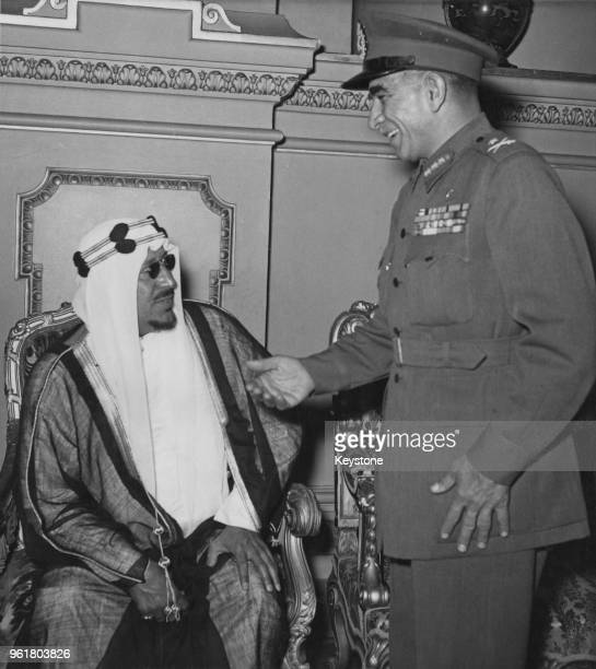 Egyptian President Mohammed Naguib with King Saud of Saudi Arabia circa 1953