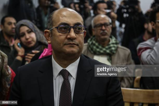 Egyptian presidential candidate Khaled Ali is seen ahead of making a speech during a press conference in Cairo Egypt on December 26 2017