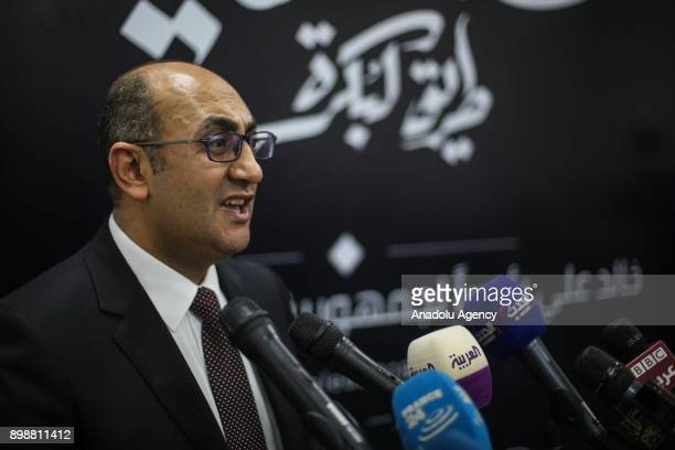 Egyptian presidential candidate Khaled Ali makes a speech during a press conference in Cairo Egypt on December 26 2017