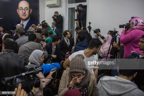 Egyptian presidential hopeful and rights lawyer Khaled Ali announces his withdrawal from the race during a press conference at his campaign's...