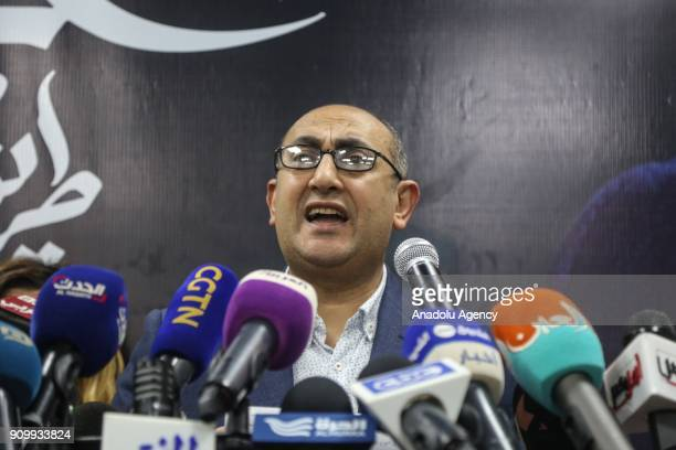 Egyptian presidential hopeful and rights lawyer Khaled Ali holds a press conference on his candidateship in Cairo Egypt on January 24 2018