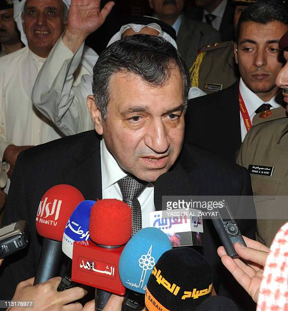 Egyptian Prime Minister Essam Sharaf talks to the press at Kuwait's National Assembly building in Kuwait City on April 26 where he vowed that his...