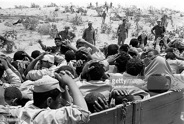 Egyptian prisoners put their hands on their heads They were captured in an Israeli advance during the SixDay War