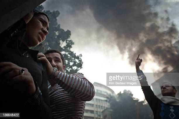 Egyptian protesters battle with Egyptian military on Kasr El Aini Street in from of Cabinet building on December 16, 2011 in downtown Cairo, Egypt.