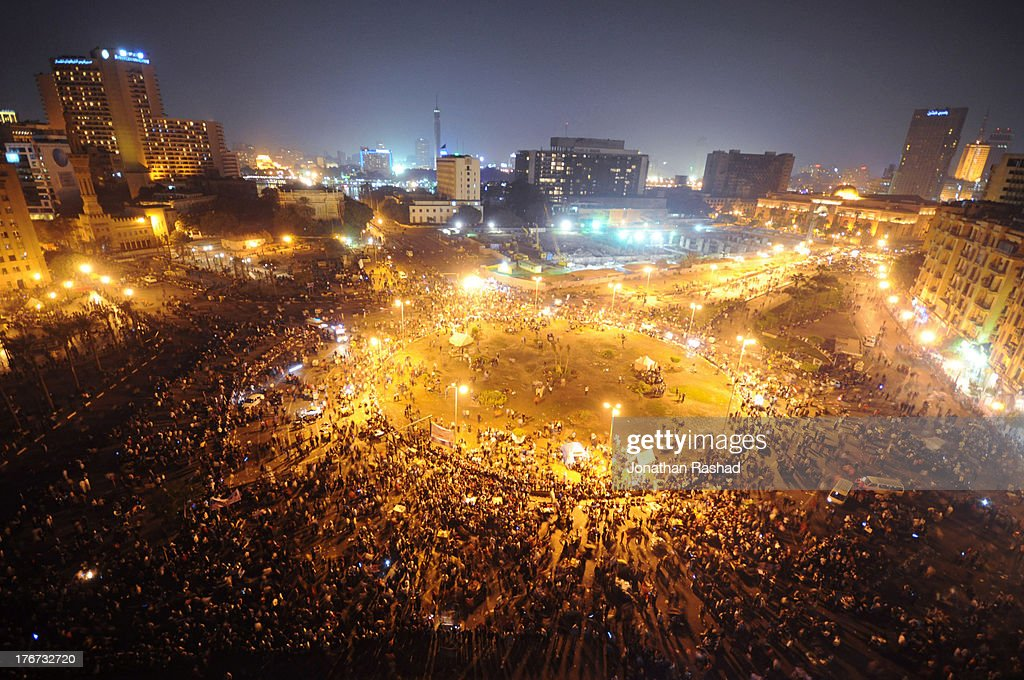 Egyptian Protesters Clash With Police : Stock Photo