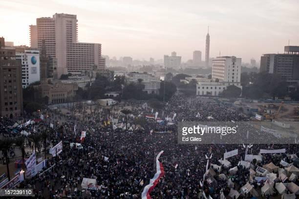 Egyptian protesters fill central Cairo's Tahrir Square during a demonstration against Egyptian President Mohammed Morsi November 30 in Cairo Egypt...