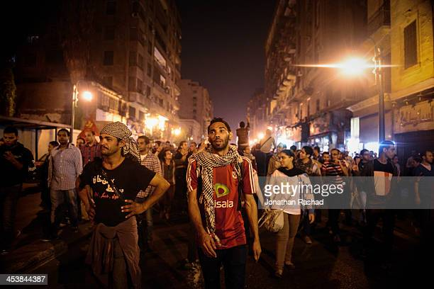 NOV Egyptian protesters march to the Shura Council Cairo Egypt in objection to the new protest law that bans protests without prior permission from...