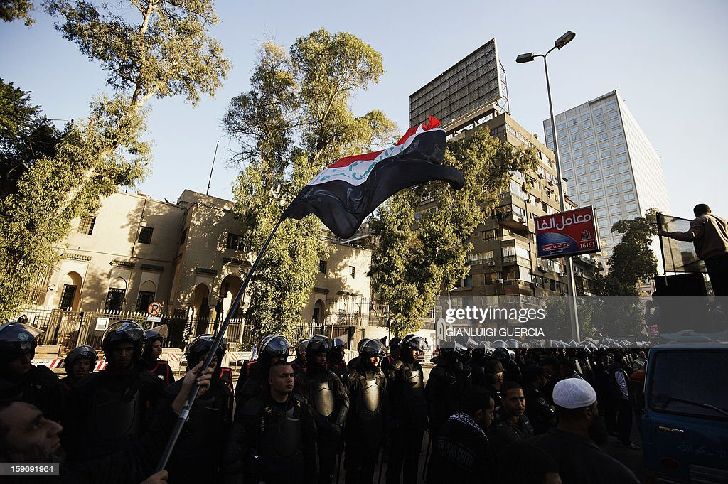 Egyptian protestors gather during a demonstration organised by Egyptian Islamists against the French intervention in Mali on January 18, 2013 in Cairo. The brother of Al-Qaeda chief Ayman al-Zawahiri joined dozens of Egyptian Islamists in a protest near the French embassy in Cairo.