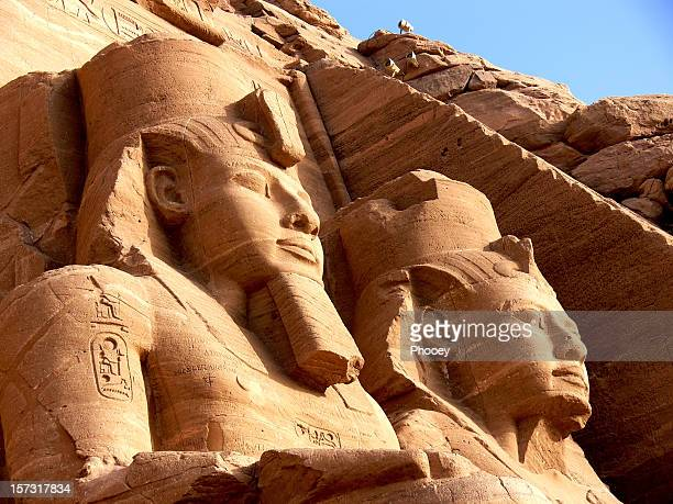 egyptian pyramid statues in the sunset - egypt stock pictures, royalty-free photos & images