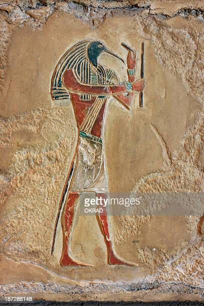 egyptian relief of thoth - egyptian god stock pictures, royalty-free photos & images