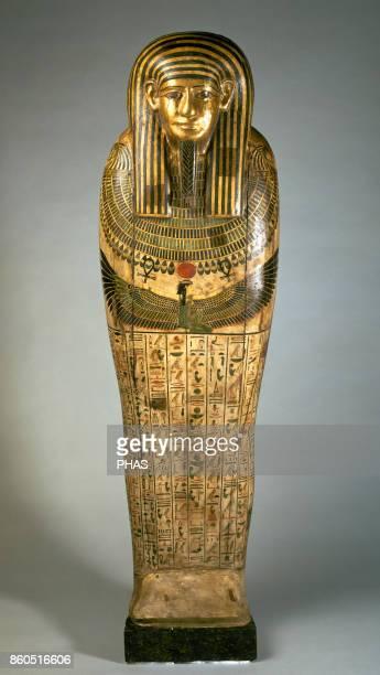 Egyptian sarcophagus. Sarcophagus of Taremetchenbastet, daughter of Ptairdis, XXVI dynasty . Polychrome wood, Necropolis of Saqqara, Egypt. The...