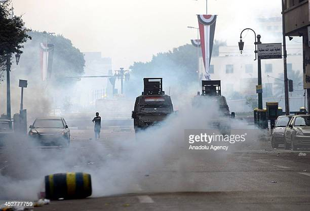 Egyptian security forces stand guard at Cairo's Tahrir Square after the dispersion of Cairo University students who were protesting against the...