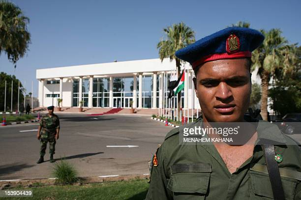 Egyptian security officers stand outside the congress center where Israeli Prime Minister Ehud Olmert Egyptian President Hosni Mubarak Palestinian...