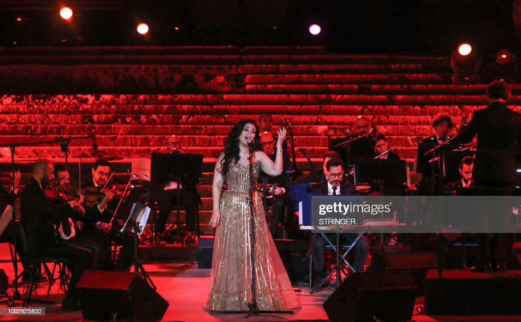 Egyptian singer Marwa Nagy performs with the Lebanese National