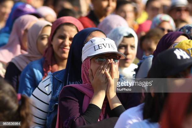 Egyptian soccer fans react as they watch the FIFA World Cup 2018 group A preliminary round soccer match between Egypt and Saudia Arabia in downtown...