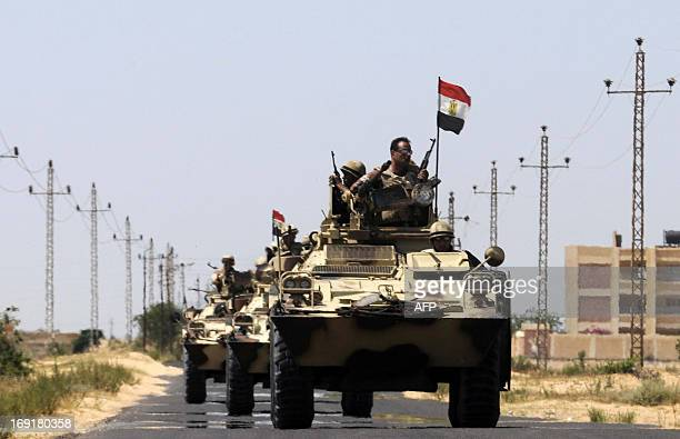 Egyptian soldiers are deployed in the area of the Rafah Crossing border between Egypt and the Gaza Strip on May 21, 2013 as Egypt intensified efforts...